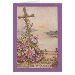 Cruz de Pascua del vintage y flores púrpuras Tarjetón