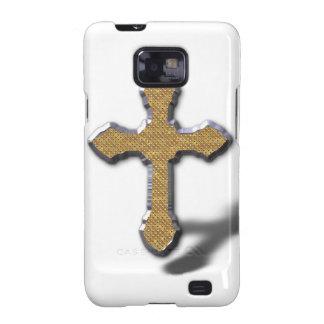 Cruz de plata con el metal Jesús del oro Galaxy SII Funda