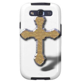 Cruz de plata con el metal Jesús del oro Samsung Galaxy S3 Fundas
