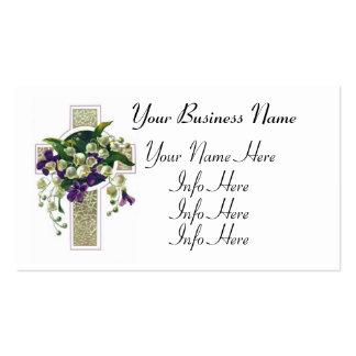 Cruz de plata con las flores púrpuras tarjeta de visita