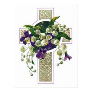 Cruz de plata con las flores púrpuras postal