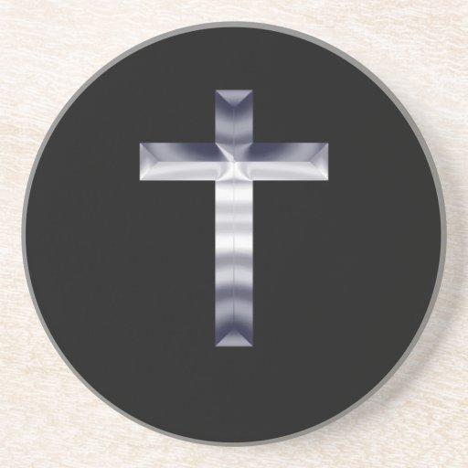 Cruz de plata en fondo negro posavasos de arenisca