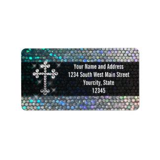 Cruz de plata impresa de Bling Etiquetas De Dirección