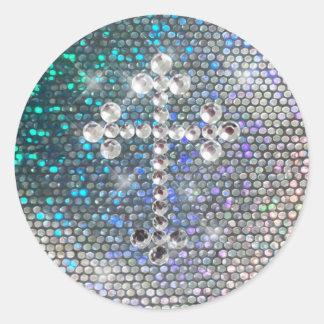 Cruz de plata impresa de Bling Pegatina Redonda