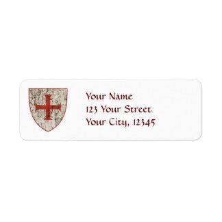 Cruz de Templar, apenada Etiquetas De Remite