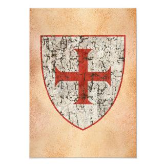 """Cruz de Templar, apenada Invitación 5"""" X 7"""""""