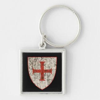 Cruz de Templar, apenada Llavero Cuadrado Plateado