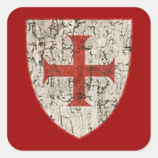Cruz de Templar, apenada Pegatina Cuadrada