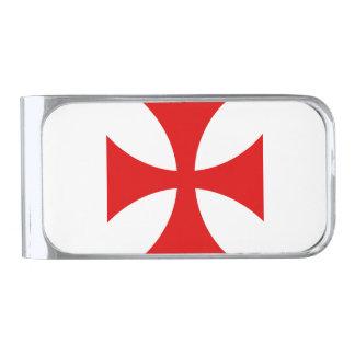 Cruz de Templar Clip Para Billetes Plateado