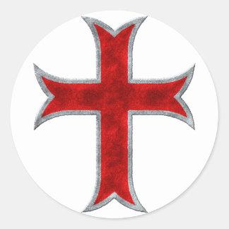 Cruz de Templar Etiqueta Redonda