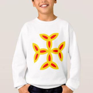Cruz de Triquetra en rojo amarillo-naranja de oro Sudadera