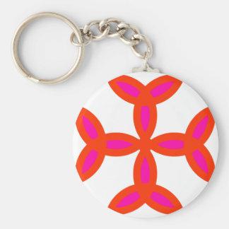 Cruz de Triquetra en rosa candente brillante Llavero Redondo Tipo Pin