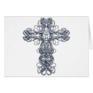Cruz del alambre con la medalla milagrosa tarjeta de felicitación