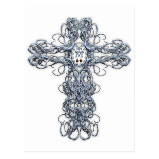 Cruz del alambre con la medalla milagrosa tarjetas postales