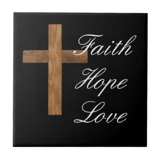 Cruz del amor de la esperanza de la fe azulejos