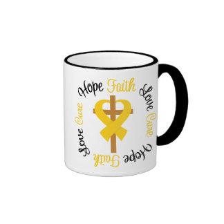 Cruz del amor de la esperanza de la fe del cáncer taza de dos colores