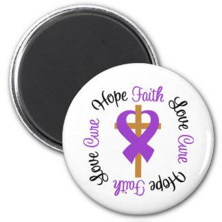 Cruz del amor de la esperanza de la fe del lupus imán redondo 5 cm