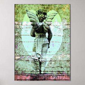 Cruz del ángel y poster santos del corazón póster