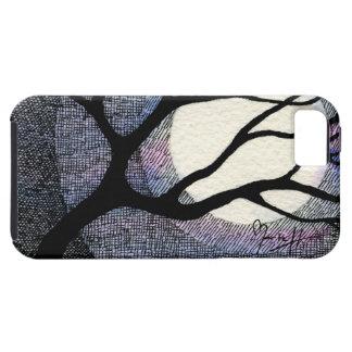 Cruz del árbol y de la luna tramada iPhone 5 carcasas