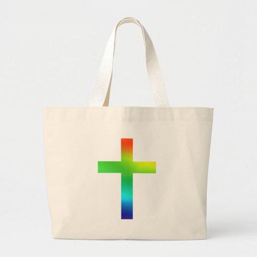 Cruz del arco iris bolsa tela grande