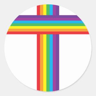 CRUZ del arco iris Etiqueta Redonda