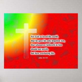 Cruz del arco iris póster