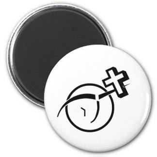 Cruz del ateísmo v imán redondo 5 cm