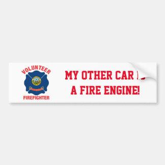 Cruz del bombero del voluntario de la bandera de pegatina para coche