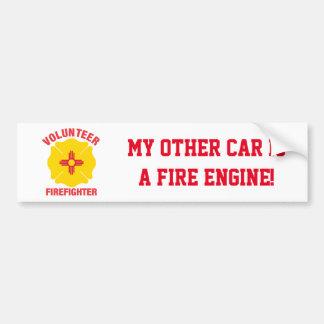 Cruz del bombero del voluntario de la bandera de pegatina para auto