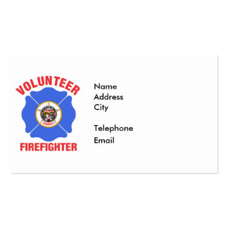 Cruz del bombero del voluntario de la bandera de tarjetas de visita