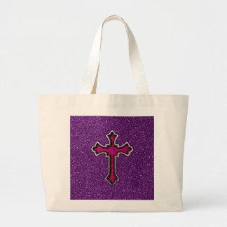 Cruz del brillo de la púrpura y del rosa bolsa de mano