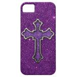 Cruz del brillo de la púrpura y del rosa iPhone 5 Case-Mate fundas