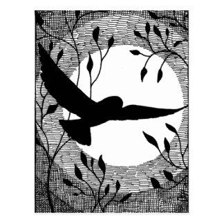 Cruz del búho y de la luna tramada tarjetas postales