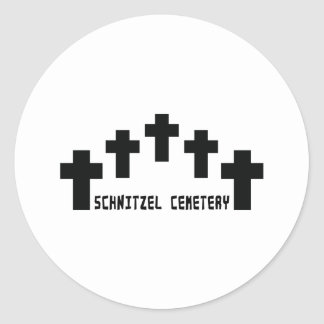 cruz del cementerio del schnitzel pegatina redonda