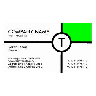 Cruz del círculo del monograma (verde) - blanco tarjetas de visita