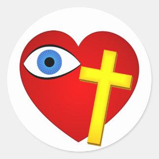 cruz del corazón del ojo pegatina redonda