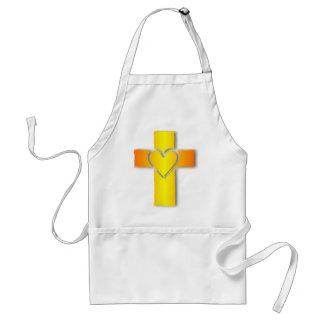 Cruz del corazón del oro delantal