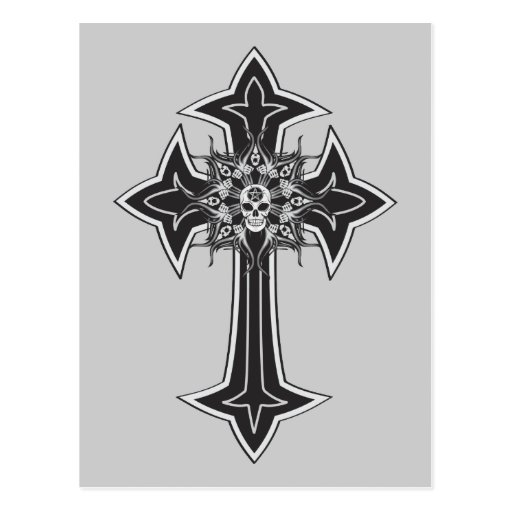 Cruz del cráneo del gótico tarjeta postal