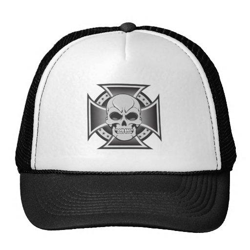 Cruz del cráneo y del hierro: Dibujo del vector: Gorras