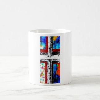 Cruz del cristal de ventana - franja roja taza clásica