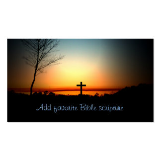 Cruz del cristiano de la puesta del sol tarjetas de visita