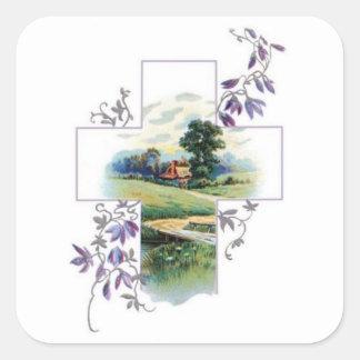 Cruz del cristiano del campo pegatina cuadrada