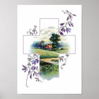 Cruz del cristiano del campo póster