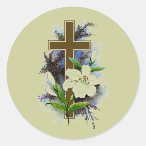 Cruz del cristiano del oro etiqueta redonda