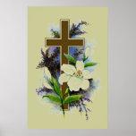 Cruz del cristiano del oro poster