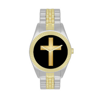 Cruz del cristiano del oro relojes de mano
