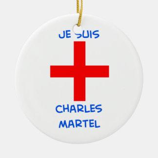 cruz del cruzado del martel de Charles de los suis Adorno Redondo De Cerámica