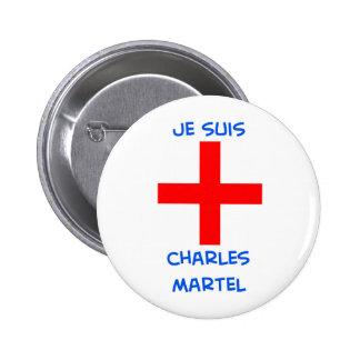 cruz del cruzado del martel de Charles de los suis Pin Redondo De 2 Pulgadas