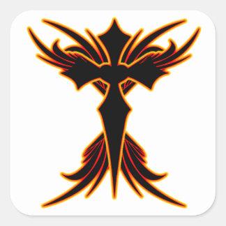 Cruz del fuego calcomanias cuadradas