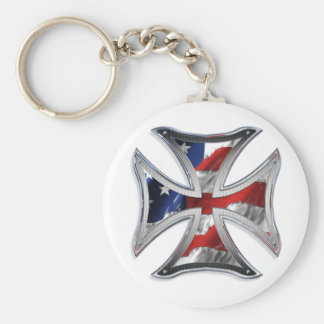 Cruz del hierro con la bandera americana llavero redondo tipo pin
